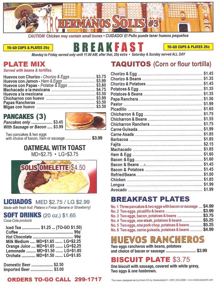Billy S Kitchen Breakfast Menu