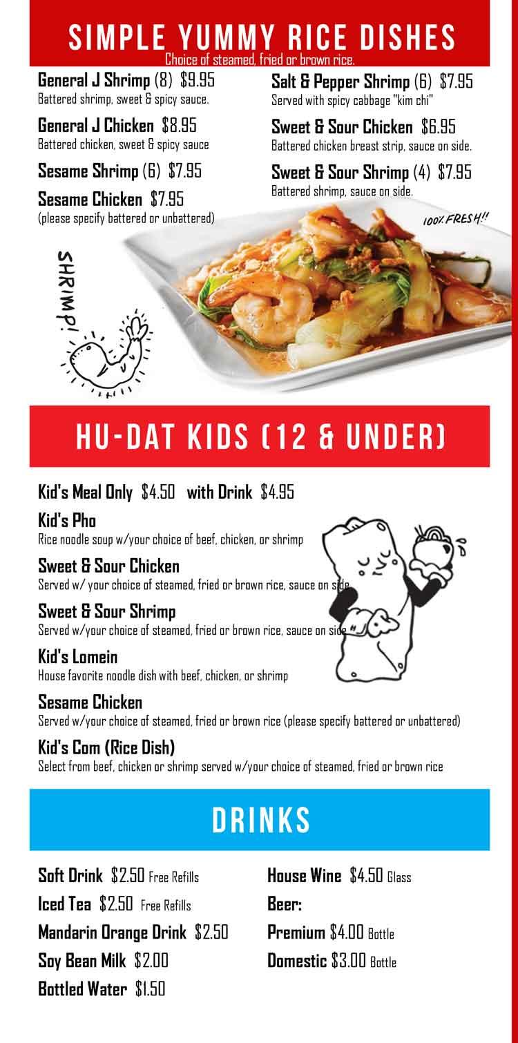 Hu Dat Noodle House Restaurant Corpus Christi South Texas Coastal Bend Menu Guide
